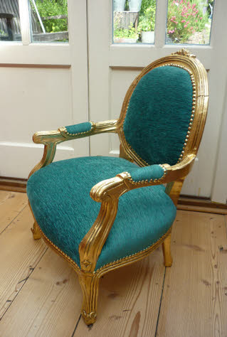 Child's upcycled antique gold chair