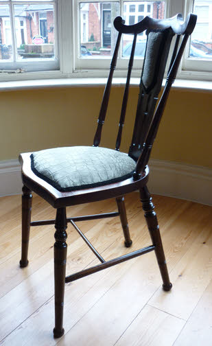Antique silver fabric chair